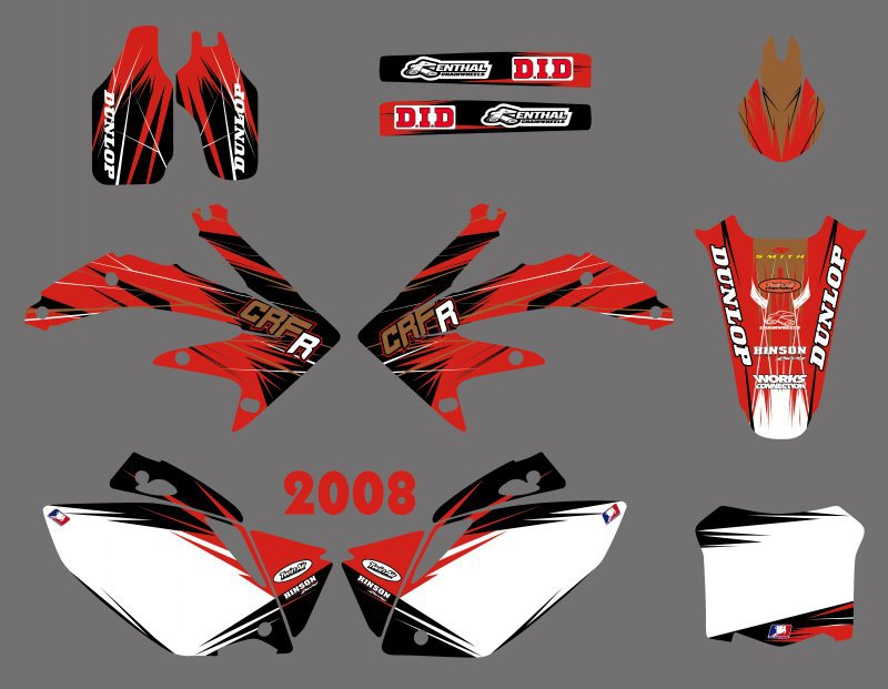 New Style TEAM GRAPHICS BACKGROUNDS DECALS STICKERS Kits for Honda CRF450 CRF450R 2008 CRF 450 450R