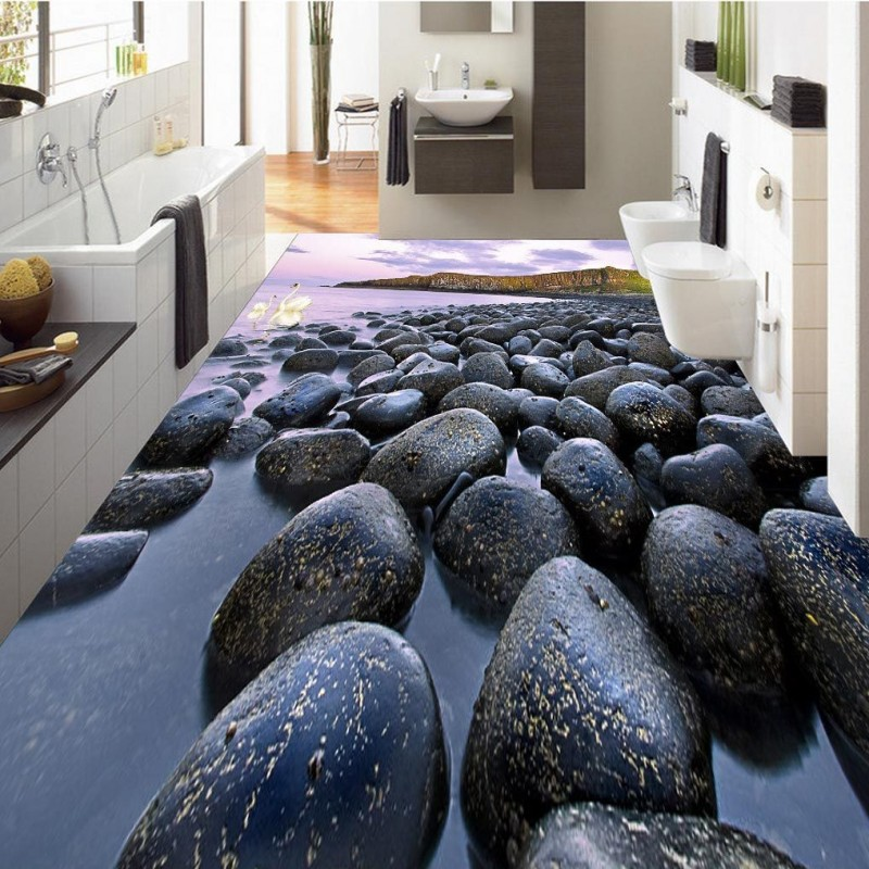 Free Shipping Black white pebble 3D floor self-adhesive waterproof living room bathroom office bedroom flooring wallpaper mural abstract mural wallpaper customize living room bathroom 3d flooring bedroom pvc self adhesive wallpaper