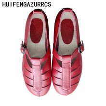 HUIFENGAZURRCS-Genuine Leather Sandals,Little Red Shoes, Literary Artistic Womens Shoes,Handmade Flat-soled Leisure shoes