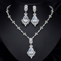 Luxury Bridal Jewelry Sets for Women White Green Royal Blue Zirocnia Long Earrings Necklace Pendant Wedding Gift