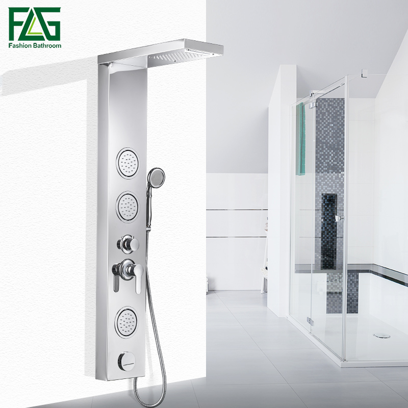 FLG Bathroom Rain Shower Panel Body Massage Jets Waterfall Shower Head Shower Column wall bath Shower Faucet