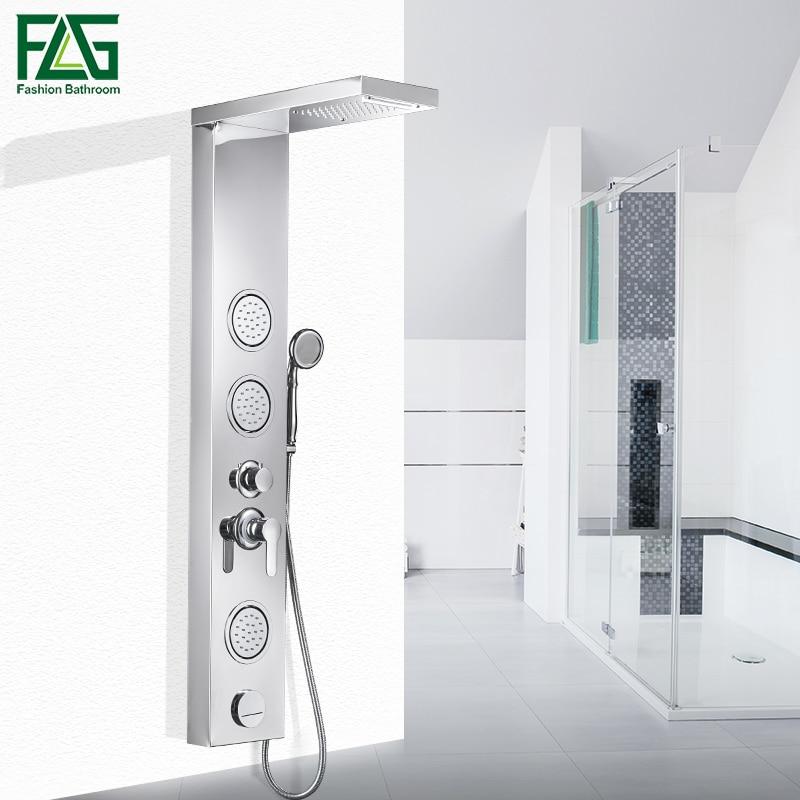 FLG Bathroom Rain Shower Panel Body Massage Jets Waterfall Shower Head Shower Column wall bath Shower Faucet
