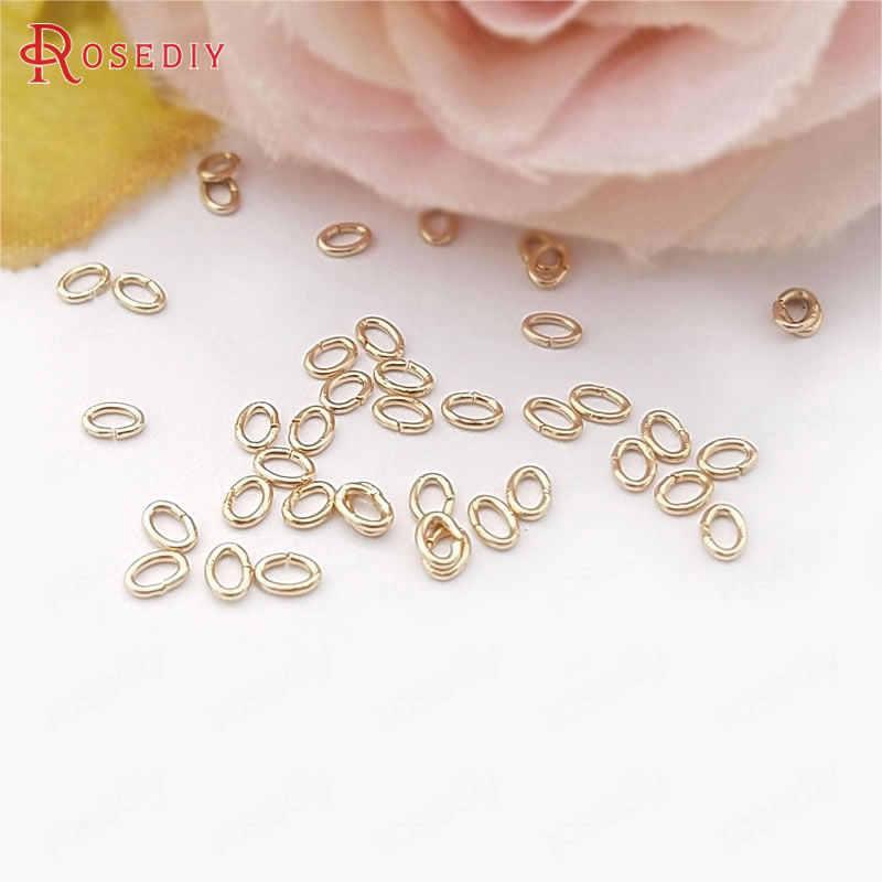 20 piezas 24K Champagne Color oro plateado latón salto anillos Split anillos ovalados joyería de calidad hallazgos más tamaño puede elegir