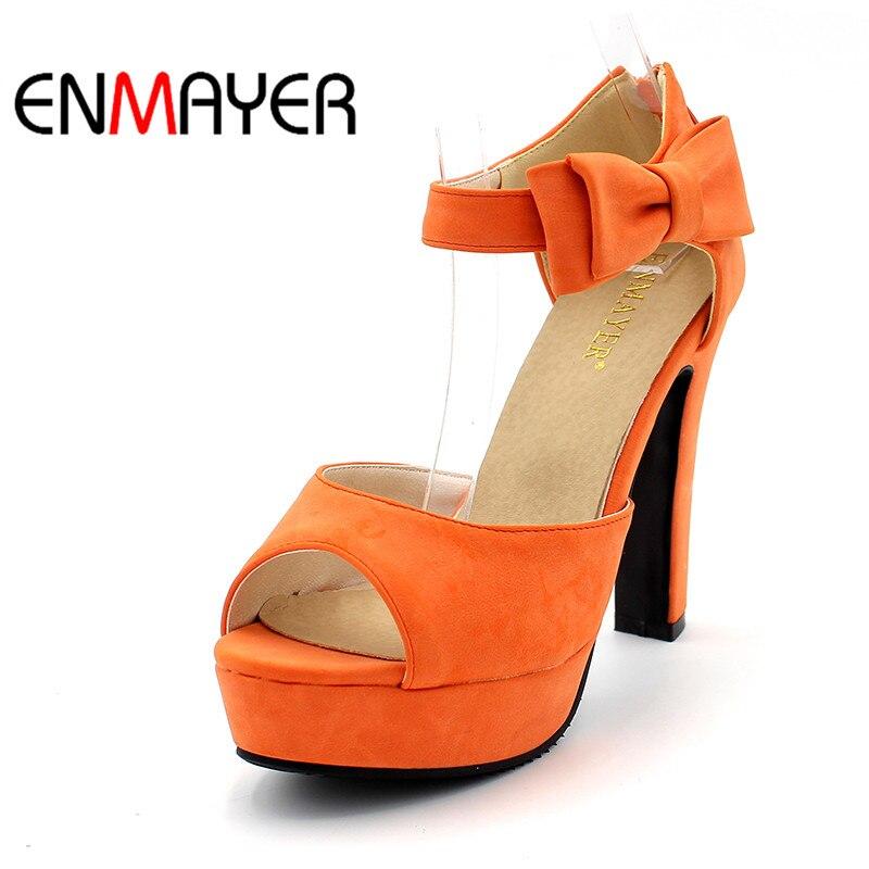 ENMAYER Negro Hot New Summer Peep Toe Correa del tobillo Dulce - Zapatos de mujer