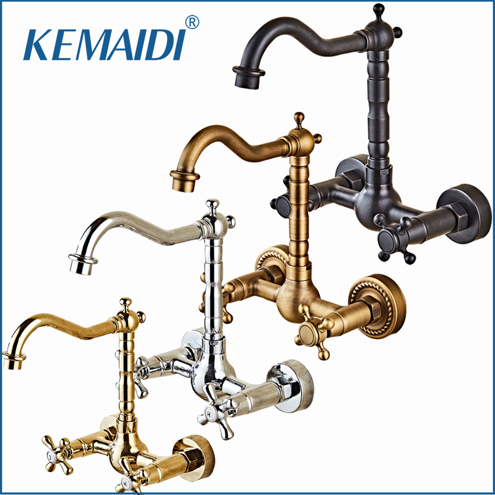 KEMAIDI 360 Swivel Antique Brass Bathroom Basin Sink Mix Tap Dual Handles Wall Mounted Kitchen Basin Sink Mixer Faucet antique brass dual cross handles swivel kitchen bathroom sink basin faucet mixer taps anf003