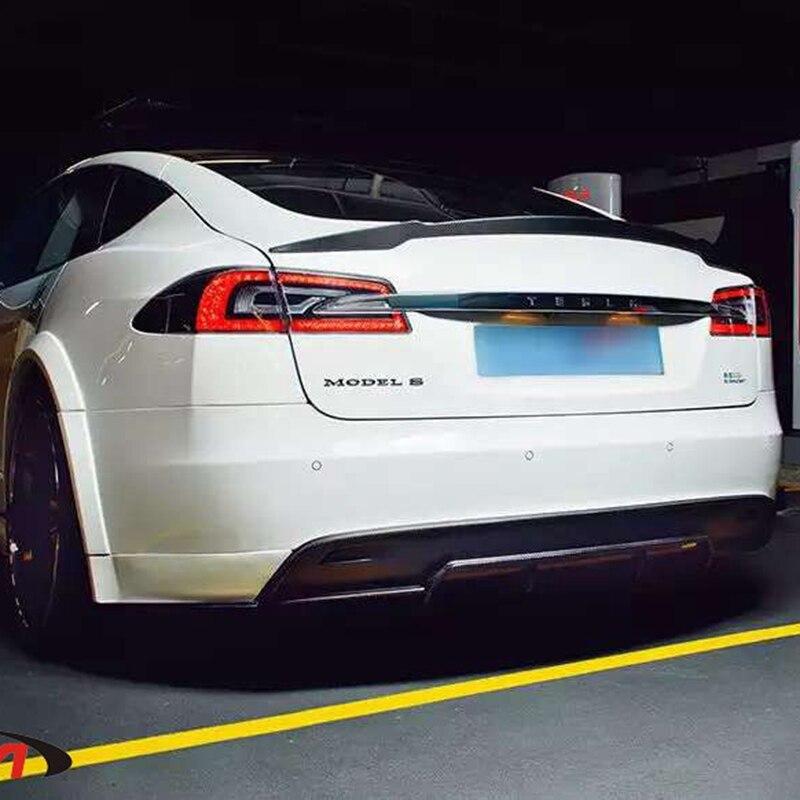 Pour Tesla Model S 2015-2017 aileron d'aile arrière, ailes de coffre Spoilers fibre de carbone pâte 3 M