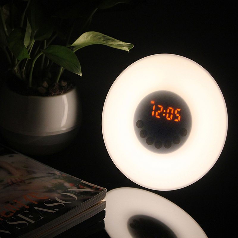 BORUiT NEW LED Night Light with Digital Alarm Clock Wake Up Light Bedroom Table Light Bedside Desk Lamp USB Rechargeable by AAA novelty run around wake up n catch me digital alarm clock on wheels white 4 aaa