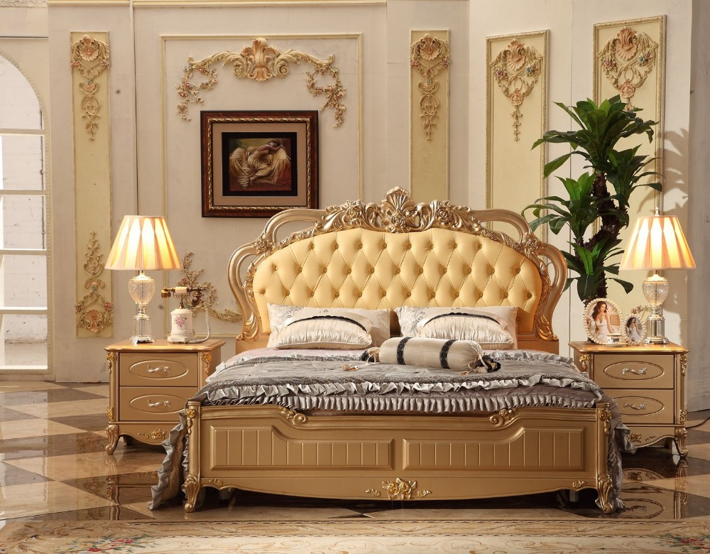 Free Shipping Champagne European Soft <font><b>Bed</b></font>, Luxury French Royal Hand Polishing Carving <font><b>Beige</b></font> Leather <font><b>Bed</b></font> Queen King Size <font><b>Bed</b></font> 0123