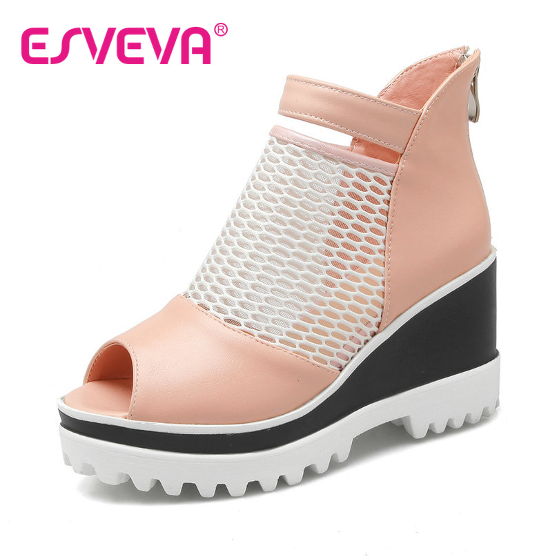 ФОТО ESVEVA Hot Sale Peep Toe Women Pumps Wedges High Heels Zipper Cut Outs Platform Spring/Autumn Miss Party Shoes Size34-42 Pink