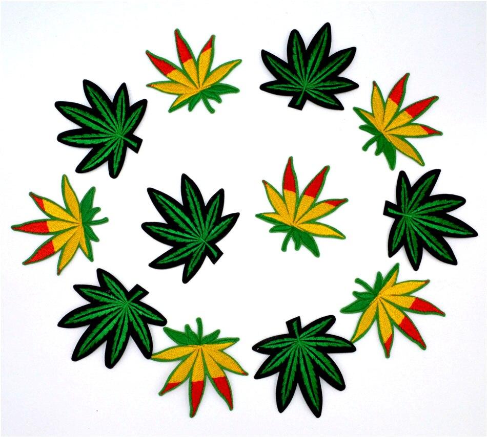 12 Stks/partij Pot Leaf Patch Weed Boho Hippie Borduurwerk Ijzer Op Patch Decoratie Accessoires Geborduurde Patch Voor T-shirt Uitverkoop Totale Korting 50-70%