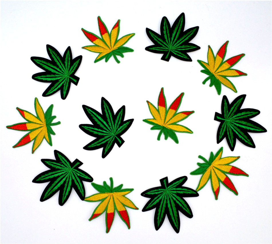 12PCS/LOT Pot Leaf patch Weed Boho Hippie Embroidery iron on patch Decoration Accessories Embroidered patch for T-shirt