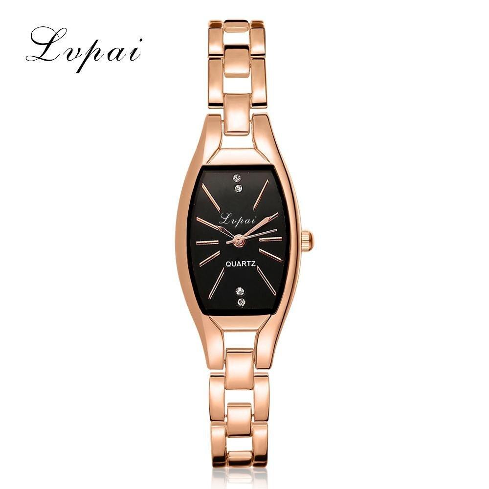 LVPAI Fashion Ladies Women Unisex Stainless Steel Rhinestone Quartz Wrist Watch 40p women Simple watches men 4