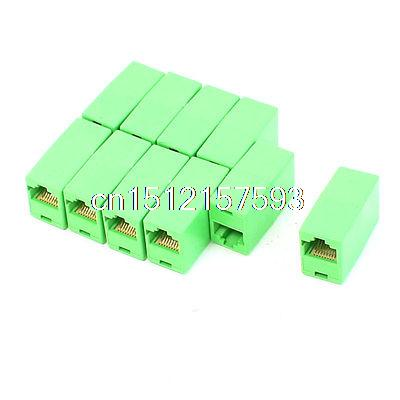 10 Pcs RJ45 8P8C Ethernet Network F/F Inline Coupler Connector Adapter Green network socket hr 911105 c brand new goods in stock network transformer 59 8 p 8 c bring lamp bring shrapnel rj 45