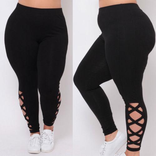 Delle donne Nero Scava Fuori Le Ghette Plus Size Spandex Curvy Pantaloni Solido New Soft 1