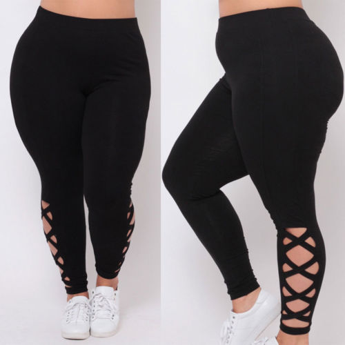 Womens Black Hollow Out Leggings Plus Size Spandex Curvy Pants Solid New Soft