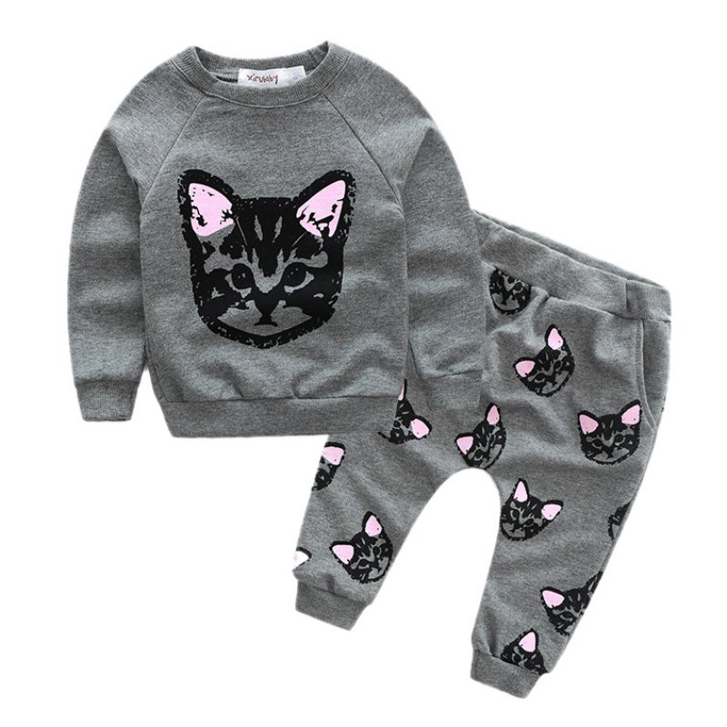 Newest Kids Sets Winter Autumn Girls Clothing Cat Print Long Sleeve Cotton Suit Casual Baby Girl Sport Suit подвесной светильник eglo truro 49235
