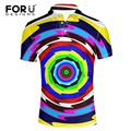 FORUDESIGNS High Quality Swirl Printing Clothes Polo Shirt for Men Fashion Spandex Quick Dry Short Sleeve Male Casual Polo Shirt