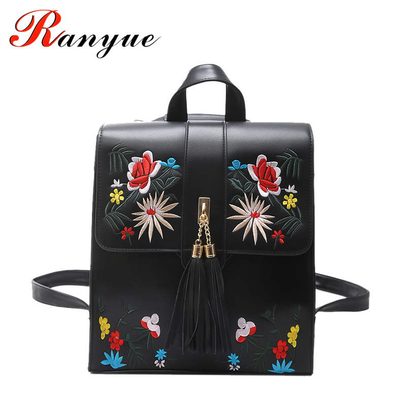 RANYUE Floral Backpack Women 2017 Casual Leather Girls Embroidery Backpacks High Quality Tassel School Bag For Teenager Rucksack