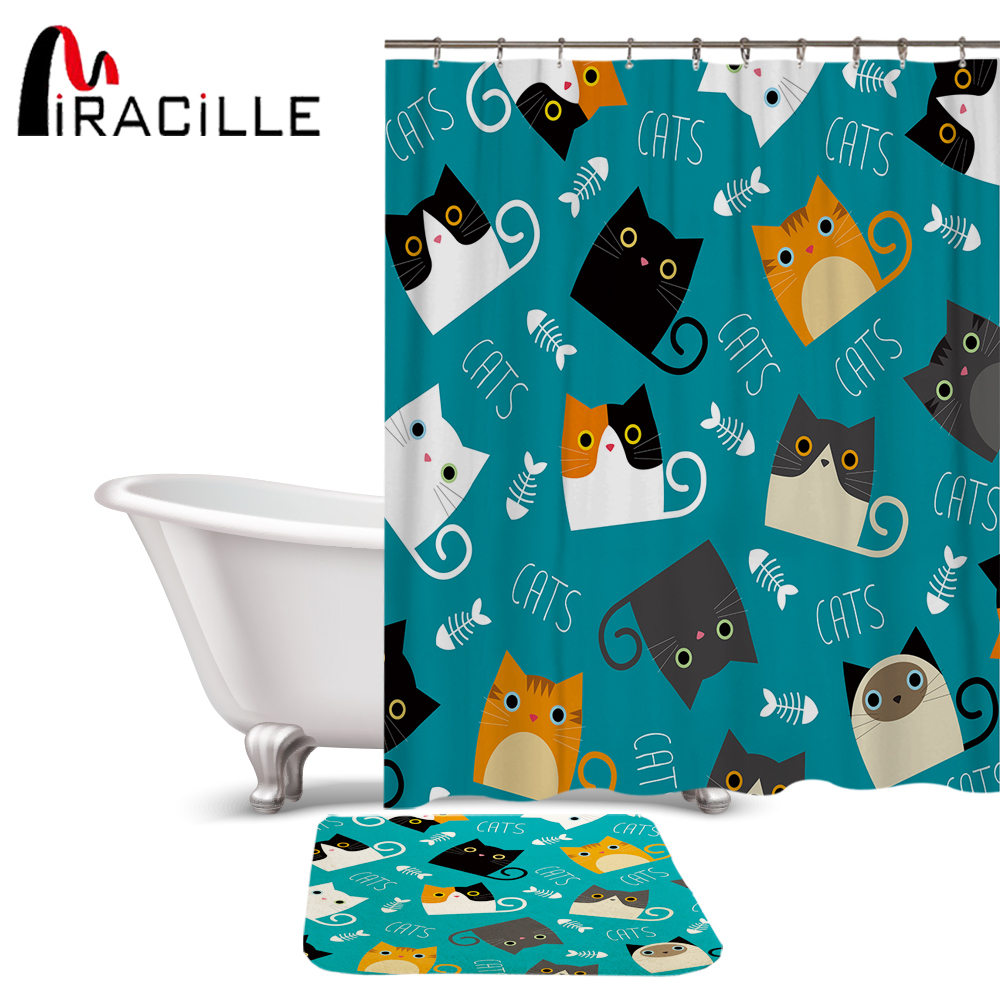 Cartoon Animal Lovely Dog Bathroom Fabric Shower Curtain Set 71Inches long