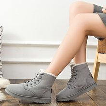 LAKESHI Women Boots Plus Size 41 Winter Boots Female Ankle Boots For Women Plush Snow Boots Cotton Shoes Women Botas Femininas(China)