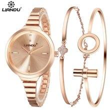 LIANDU Fashion Watch Women Rose Gold Popular Bracelet Luxury Jewelry Ladies Female Girl Hour Casual Quartz Wristwatches