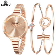 LIANDU Fashion Watch Women Rose Gold Popular Bracelet Watch Luxury Jewelry Ladies Female Girl Hour Casual Quartz Wristwatches