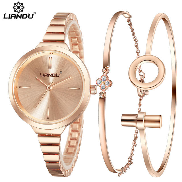 LIANDU Fashion Watch Women RoseGold Diamond Bracelet Watch Luxury Jewelry Ladies