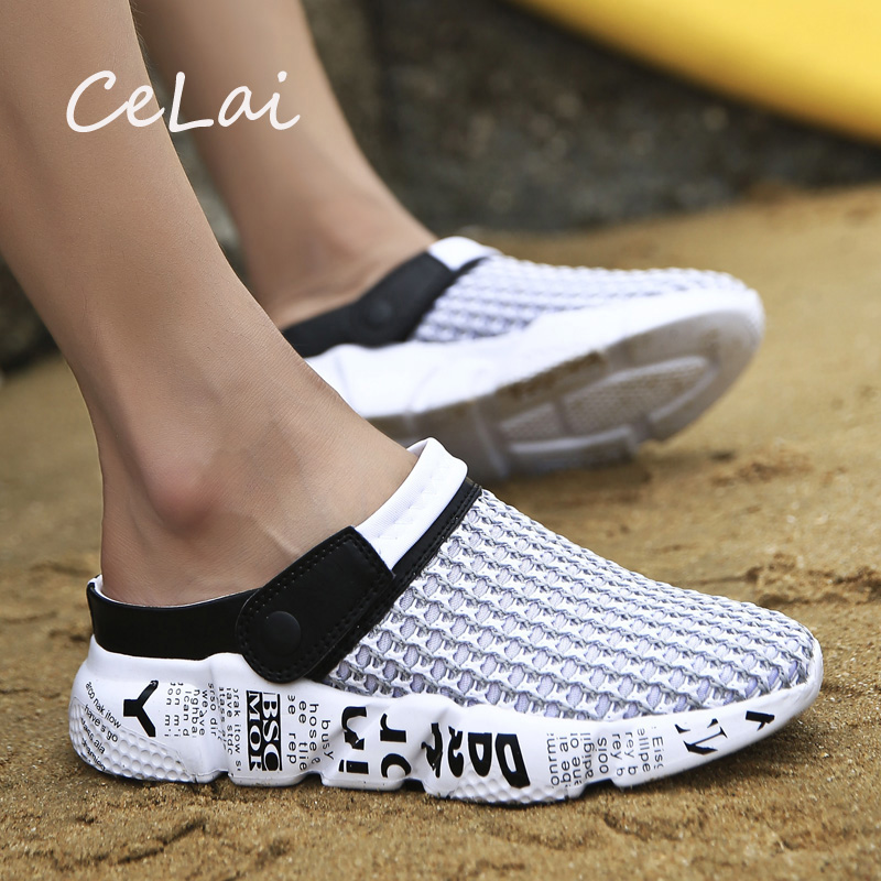 CeLai Size 39-46 Summer Mesh Shoes Men Sandals Beach Slippers Clogs Male Sneaker Clogs Man Zuecos Sandalias Zapatos Hombre A-032