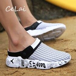 Celai tamanho 39-46 verão sapatos de malha homens sandálias praia chinelos tamancos tênis masculino tamancos homem zuecos sandalias zapatos hombre A-032