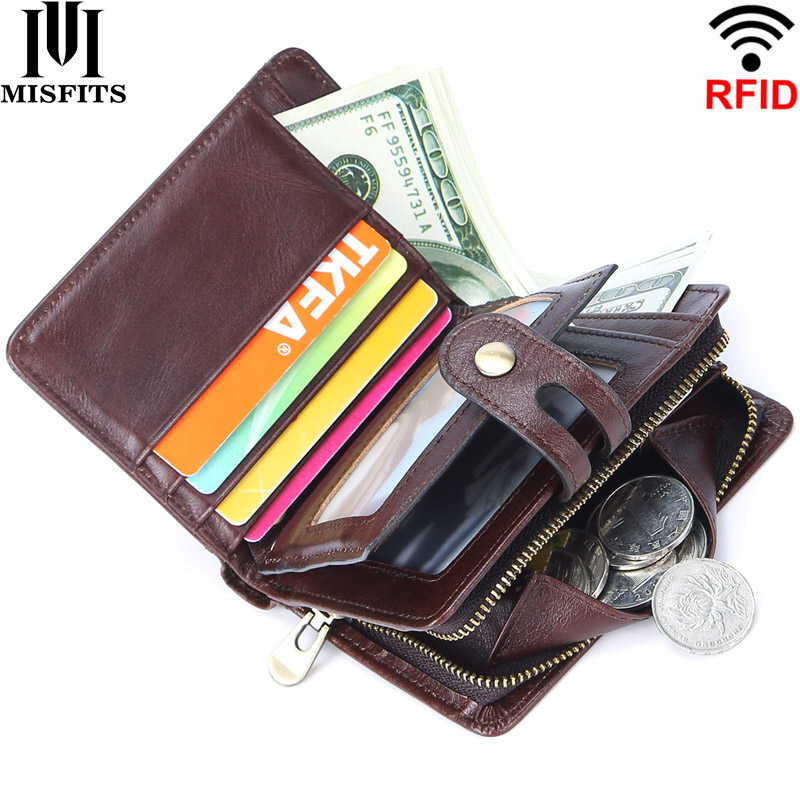 MISFITS 100% Genuine Leather RFID Vintage Men's Wallet Short Hasp Wallets With Coin Pocket Small Zipper Male Purse Card Holders