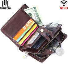 MISFITS 100% genuine leather RFID vintage mens wallet short hasp wallets with coin pocket small zipper male purse card holders