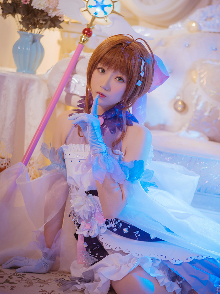 Blanc neige Sakura robe carte Captor Sakura Cosplay Costume robe avec de beaux accessoires femmes fête