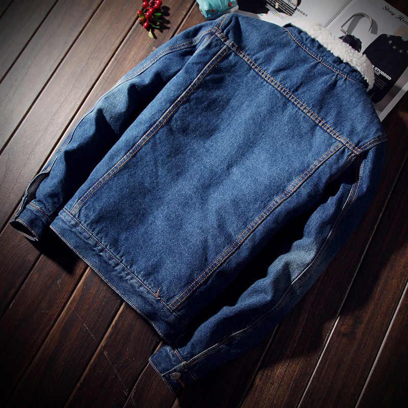 Зимняя Новая мода ретро Мужская меховая подкладка джинсовые куртки Мужская Флисовая Куртка однобортное джинсовое пальто пуговица Верхняя одежда Размер M-4xl