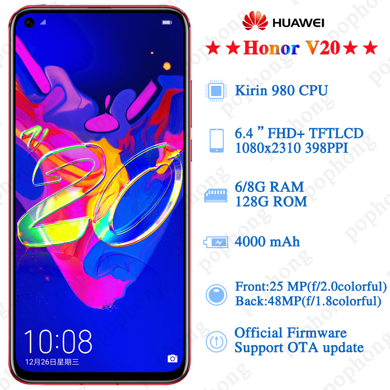 Original HONOR View 20 Honor V20 Smartphone 6GB 128GB Kirin 980 Octa Core Android 9.0 NFC fast charge Fingerprint ID-in Cellphones from Cellphones & Telecommunications    3