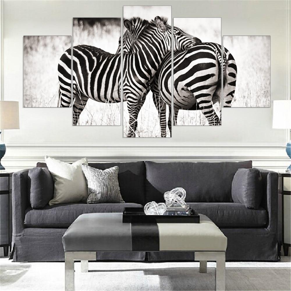 Mordern canvas painting zebra frameless animal art poster for Prints for home decor