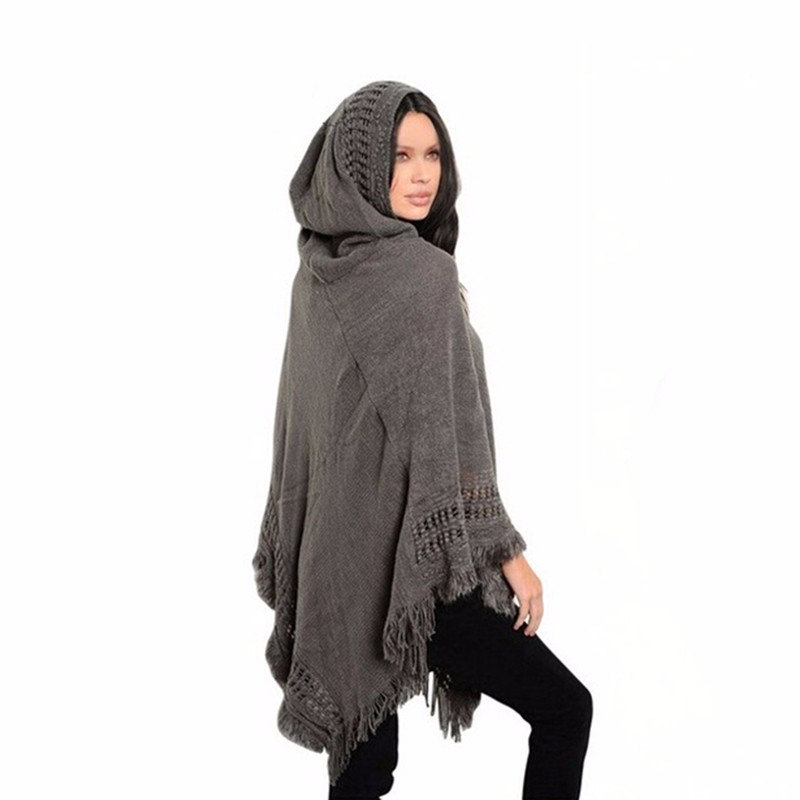 Tassel Knitted Hooded Women Poncho 2017 Solid Hollow Out Hole Shawls   Scarves     Wraps   Female Loose Winter Hoodies   Scarf