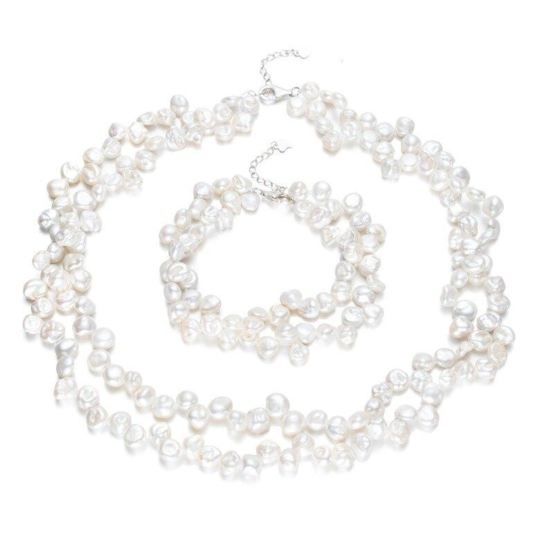 Blanc deux rangées 7-8mm AA keshi forme perle ensemble 925 argent ensemble bijoux