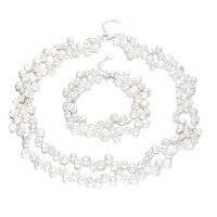 White two rows 7 8mm AA keshi shape pearl set 925 silver set jewelry
