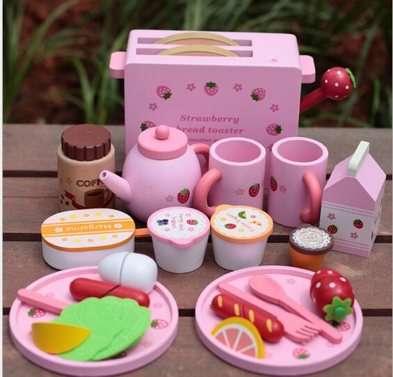 Baby Toys Toast Bread Toaster Toys Wooden Pretend Play Kitchen Toys Child Play Food Set Toys Gift free shipping baby toys picnic basket food set wooden play food set pretend play kitchen toys gift