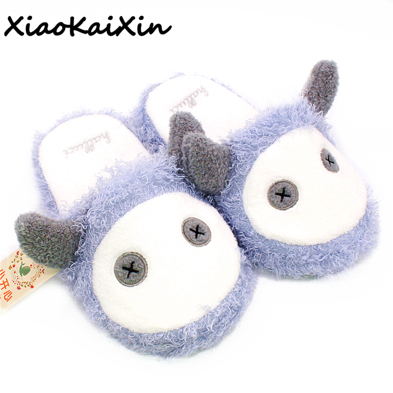 Large size loose type Winter Home Cartoon Simple-minded little devil Slippers Women Indoor Floor Warm Soft Plush Bedroom Slipper tolaitoe autumn winter animals fox household slippers soft soles floor with indoor slippers plush home slippers