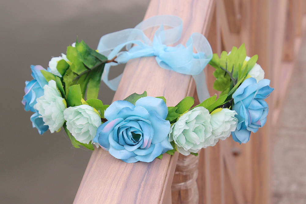 DIY Bridal floral adjustable crown hair wreath kids Breath camellia Flower simple Halo W ...