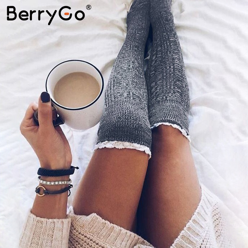 BerryGo Sexy knitted lace women stockings Winter autumn thigh high over the knee leggings Casual solid lady long stockings 2018