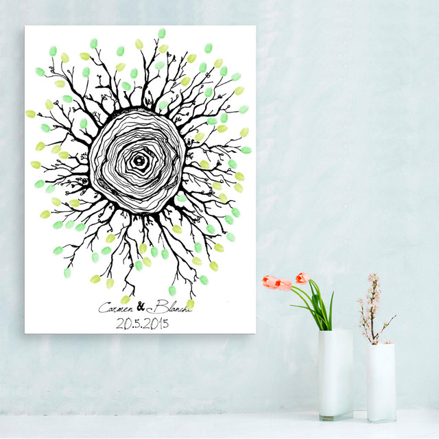 arbre d 39 empreinte digitale signature toile peinture arbre anneau de mariage cadeau de mariage. Black Bedroom Furniture Sets. Home Design Ideas