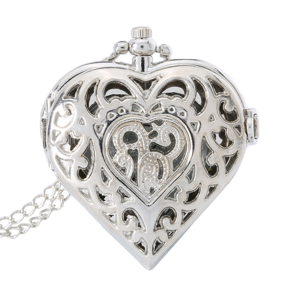 Silver Necklace Jewelry Hollow Heart Shaped Pocket Watch Necklace Pendant Chain Quartz Watches Clock Women Gift LL@17