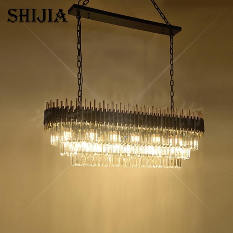 Modern Crystal Chandelier For Dining Room Kitchen Island Hanging Lighting Fixtures Black LED Cristal Lustres