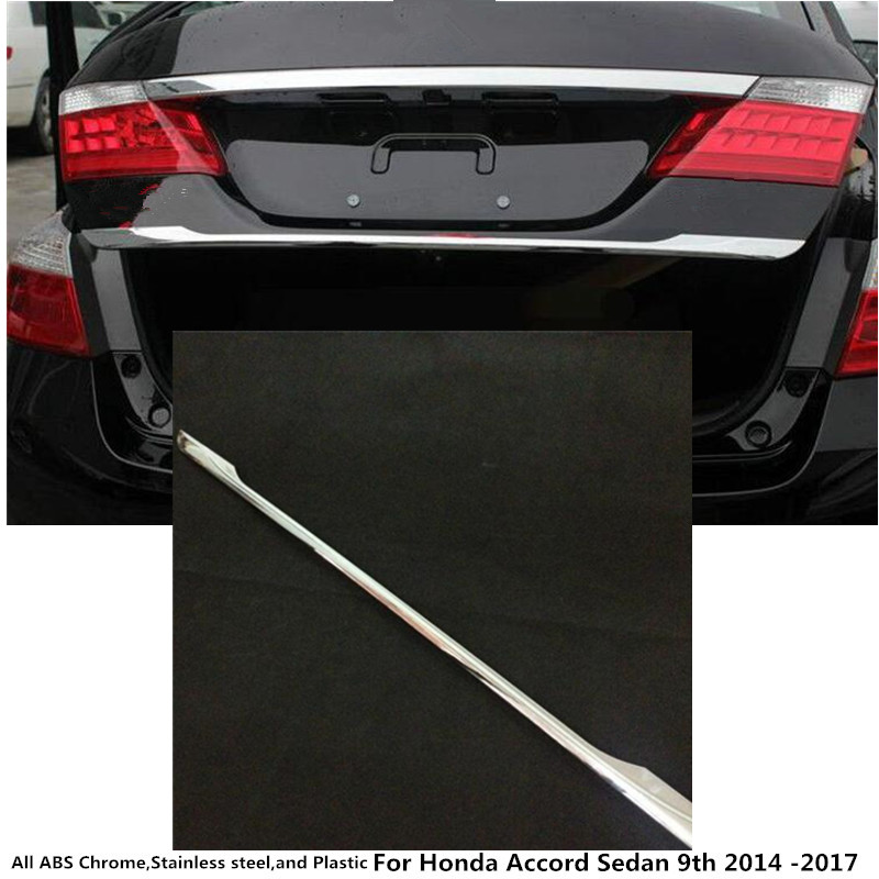 For Honda Accord Sedan 9th 2014 2015 2016 2017 car cover ABS chrome Rear tail door bottom tailgate Trunk Lid Tail Gate trim 1 hot car abs chrome carbon fiber rear door wing tail spoiler frame plate trim for honda civic 10th sedan 2016 2017 2018 1pcs