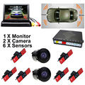 "Car Parking Sensors 13mm Flat Sensors Reverse Backup Radar With Front Camera And Rear Camera And 4.3"" Car Video Monitor"