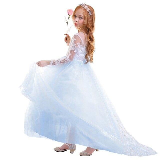 90301e7b9e6ca Vintage filles robe pour fête de mariage bébé enfant à manches longues bleu  Tulle dentelle traînant longue élégante demoiselle d'honneur ...