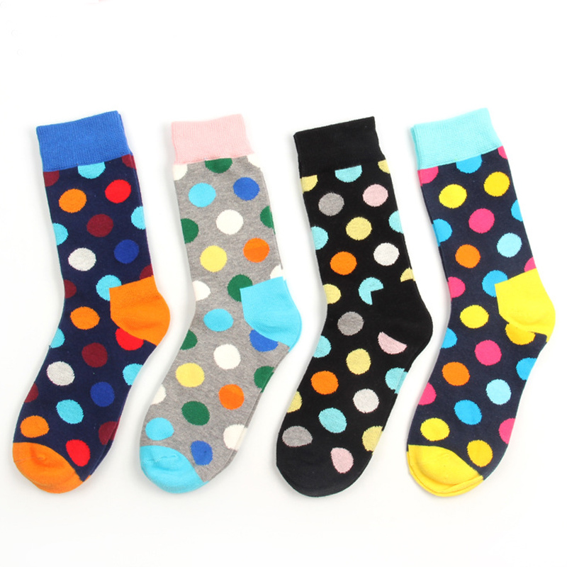 Hot sale Happy Mens Socks art Circle Painting Cotton Brand Harajuku male Socks Funny Colorful Dress Crew sox wedding gift