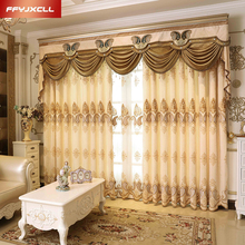 Home Decoration Europe Style Embroidered Thick Blackout Curtains Cloth for Living Room Window Bedroom